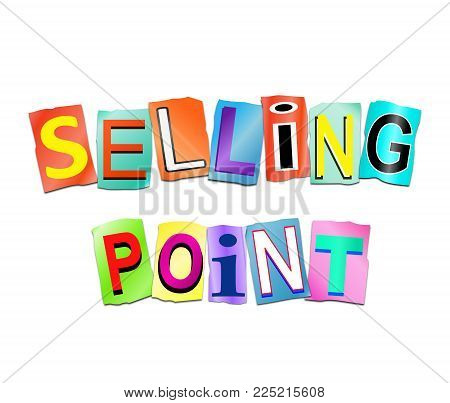 3d Illustration depicting a set of cut out printed letters arranged to form the words selling point. poster