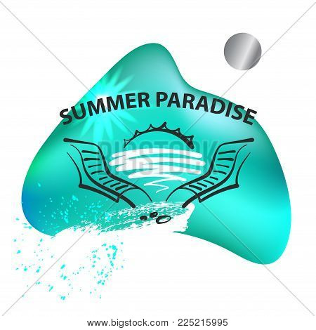 Two deck chair lounge with water and sunrise on gradient spot. Element design. template poster, banner, flyer for travel company, agency, bureau. Summer paradise.