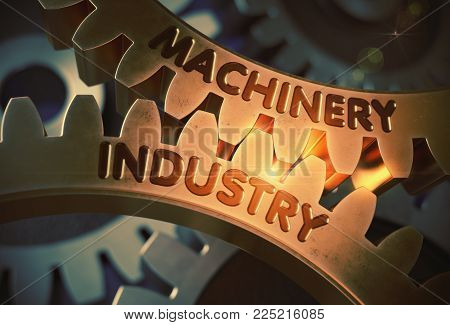 Machinery Industry - Technical Design. Machinery Industry on the Mechanism of Golden Metallic Cog Gears with Lens Flare. 3D Rendering.