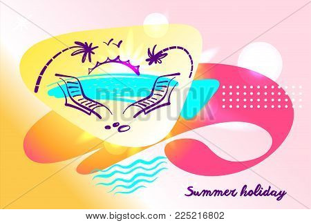 Two deck chair lounge with palm, water and sunrise on gradient spot. Element design. template poster, banner, flyer for travel company, agency, bureau. Summer holiday paradise.