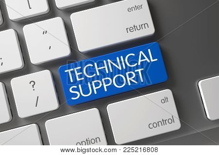 Technical Support Concept: Modern Keyboard with Technical Support, Selected Focus on Blue Enter Keypad. 3D.