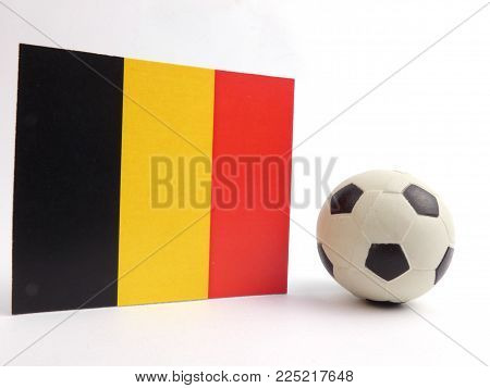 Belgian flag with football ball isloated on white background