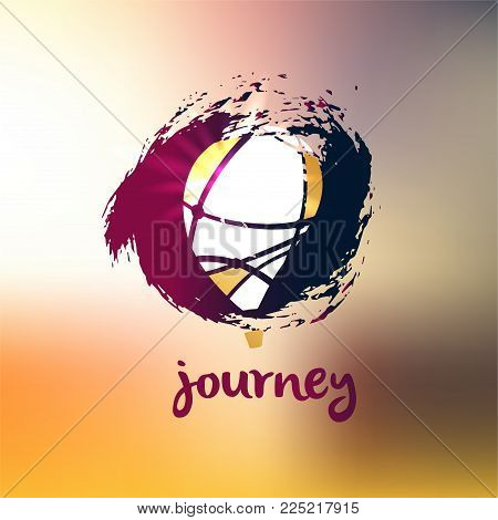 Best tour journey for summer holiday. Abstract balloon. Template poster, banner, logo for travel company, agency.