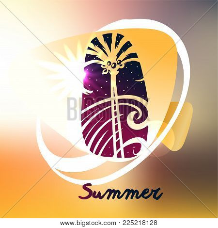 Best tour for summer holiday. Abstract palm tree, sea wave and sun light. Template poster, banner, logo for travel company, agency.
