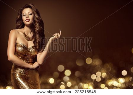 Fashion Model Gold Dress, Elegant Young Woman in Golden Sexy Gown, Luxury Lady Beauty Portrait