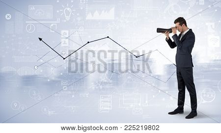 Businessman looking forward through binoculars with increase concept