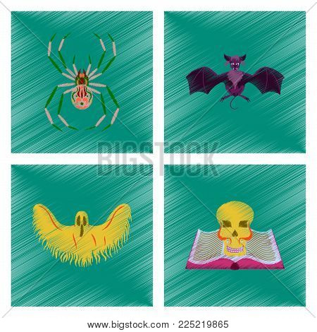 assembly flat shading style icon of halloween spider bat ghost book skull