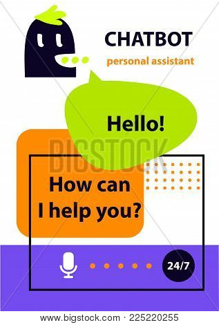Voice service chat bot.  Concept banner with head robot chatbot.  Sketch avatar for intelligence technology. Virtual online customer support. Personal assistant.