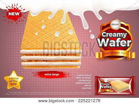 Creamy wafer in milk splashes ads. 3d illustration and packaging