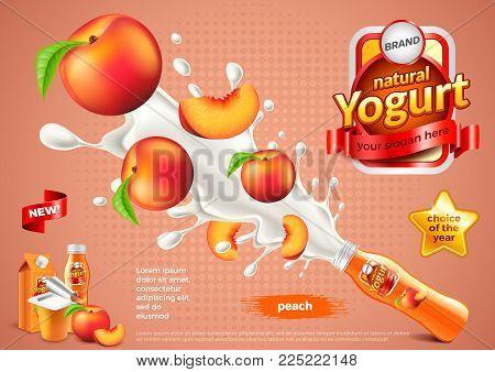 Peach yogurt ads. Bottle explosion. 3d illustration and packaging