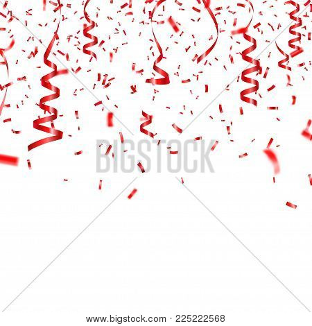 Christmas, Valentine s day red confetti with ribbon on transparent background. Falling shiny confetti glitters. Festive party design elements.