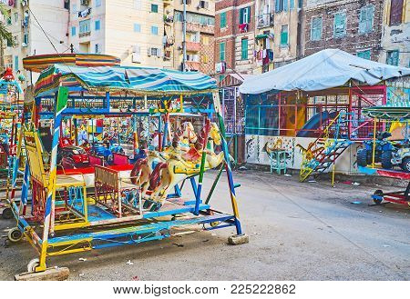 The Retro Luna Park Boasts Different Carousels, Swing Rides And Attractions For Little Kids, Alexand