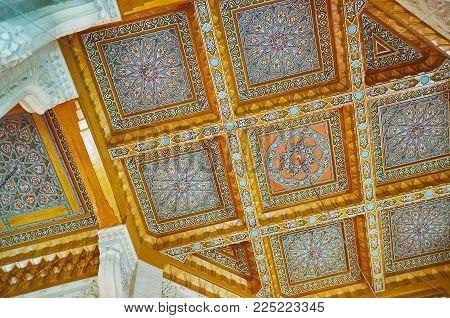 Alexandria, Egypt - December 17, 2017: The Ceiling Of Abu Al-abbas Al-mursi Mosque Consists Of Wood