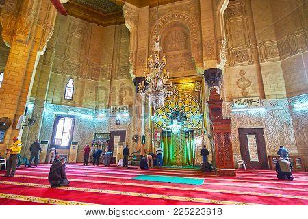 Alexandria, Egypt - December 17, 2017: The Complex Patterns Of Mihrab In Abu Al-abbas Al-mursi Mosqu