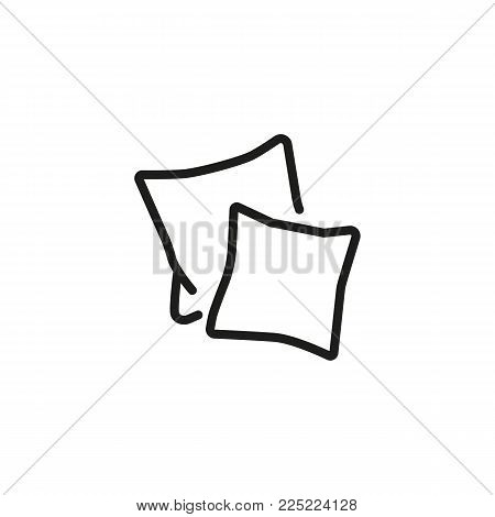 Icon of two pillows. Cushion, decoration, textile. Sleeping concept. Can be used for topics like dreaming, accommodation, bedroom