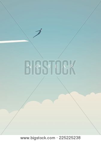 Business risk vector minimalist concept. Businessman jumping from board above clouds as symbol of challenge, courage and bravery. Eps10 vector illustration.