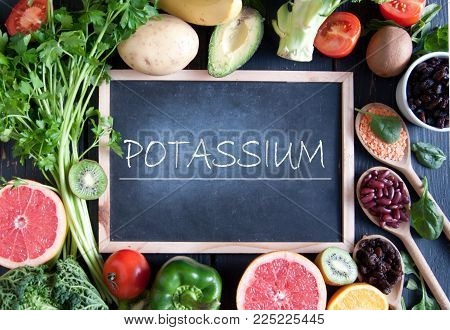 Fresh fruits vegetables and pulses with potassium nutrition