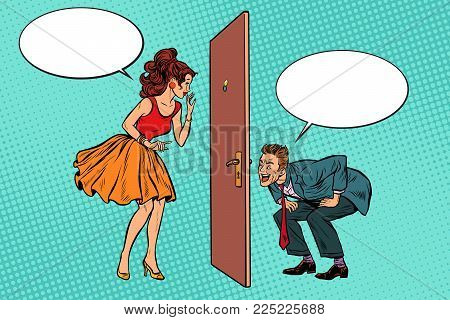 man and woman looking through a door, peephole and keyhole. Voyeurism and privacy. Pop art retro vector illustration