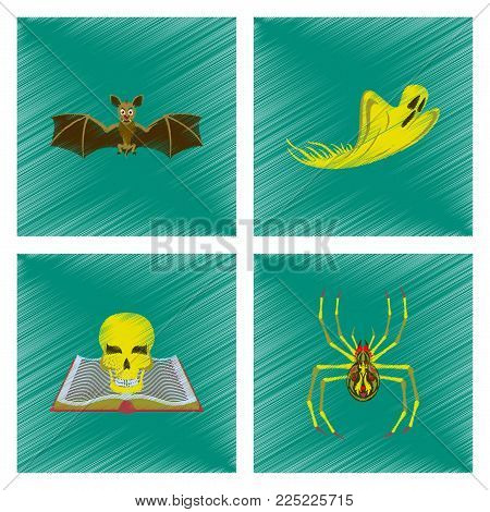 assembly flat shading style icon of bat ghost book skull spider