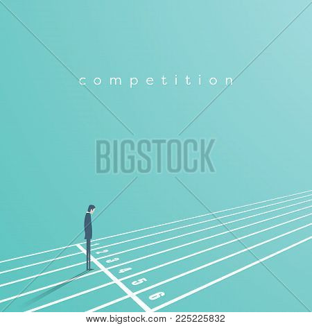 Business start and competition vector concept. Businessman on start of race track. Symbol of challenge, opportunity, career beginning. Eps10 vector illustration.