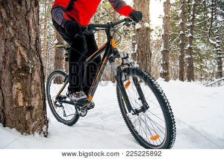 Cyclist in Red Riding the Mountain Bike in the Beautiful Winter Forest. Adventure, Sport and Enduro Cycling Concept.