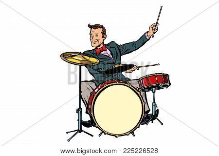 retro drummer behind the kit. Isolated on white background. Pop art vector illustration comic cartoon hand drawing