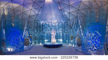HREBIENOK, SLOVAKIA - JAN 04 2018: Ice Altar in Tatras House, Hrebienok, High Tatras. It's an altar with statues build from ice.