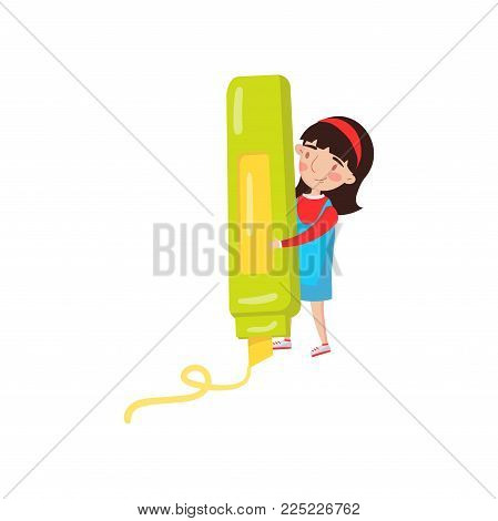 Cute girl with giant highlighter, preschool activities and early childhood education cartoon vector Illustration isolated on a white background