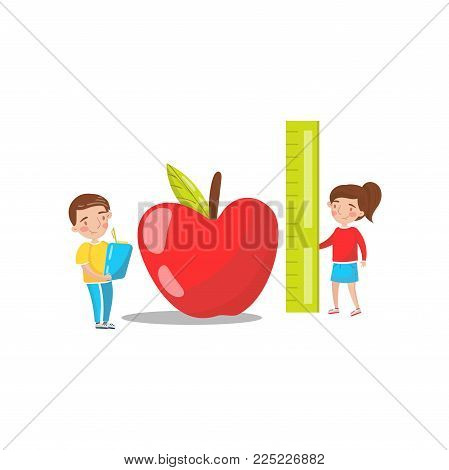 Cute boy and girl measuring red giant apple, preschool activities and early childhood education cartoon vector Illustration isolated on a white background