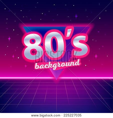 80s sci-fi background with perspective grid, stars, triangle and text. Abstract retro background in 80s style. Disco, neon. Vector illustration.