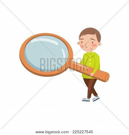 Little boy holding giant magnifying glass, preschool activities and early childhood education cartoon vector Illustration isolated on a white background