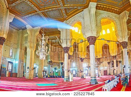 ALEXANDRIA, EGYPT - DECEMBER 17, 2017: Panorama of prayer hall of Abu al-Abbas al-Mursi Mosque, decorated with wooden, stone and ivory details, on December 17 in Alexandria.