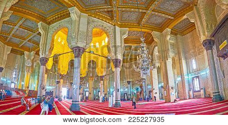 ALEXANDRIA, EGYPT - DECEMBER 17, 2017: The outstanding interior of Abu al-Abbas al-Mursi Mosque is richly decorated with arabesque ornaments, on December 17 in Alexandria.