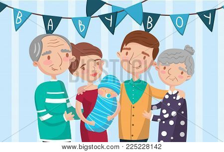 Happy big family portrait, best moments on pictures, photo of family members colorful vector Illustration.