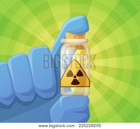 Radioactivity. Cartoon vector illustration with blue glove hand