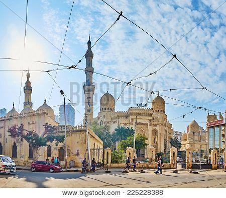 ALEXANDRIA, EGYPT - DECEMBER 17, 2017: The Mosque square with its main landmarks -  Imam Al Busiri mosque, Abu al-Abbas al-Mursi mosque and Sidi Yaqut al-Arshi mosque, on December 17 in Alexandria.