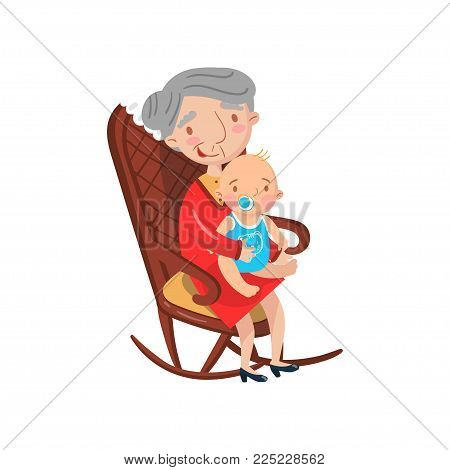 Grandmother sitting with her grandson on her knees cartoon vector Illustration isolated on a white background