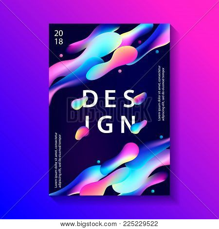 Creative design poster with plastic shapes. Modern style abstraction background. Abstract background of liquid colorful shapes. Fluid shapes composition. Futuristic design cover. Vector