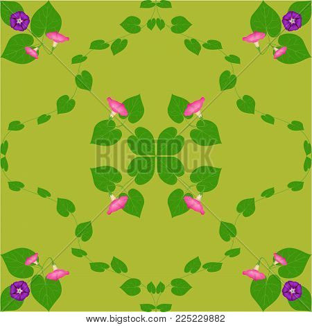 Beautiful purple flower blossom with green leaves. Vector Flower.