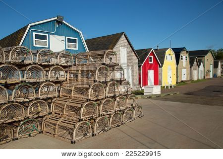 Lobster cages in front of oysters barns in New London, Prince Edward island also called PEI