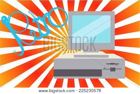 Old, vintage, retro, hipster, antique, disco, gray, bright, beautiful computer with floppy on a background of green orange rays with the inscription of retro. Vector illustration.