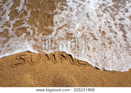 Beach background with summer written in sand. Wave and sand border.