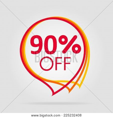 Special offer sale isolated price. Discount offer label, symbol for advertising campaign in retail, sale promo marketing, ninety percent off discount sticker, ad offer on shopping day
