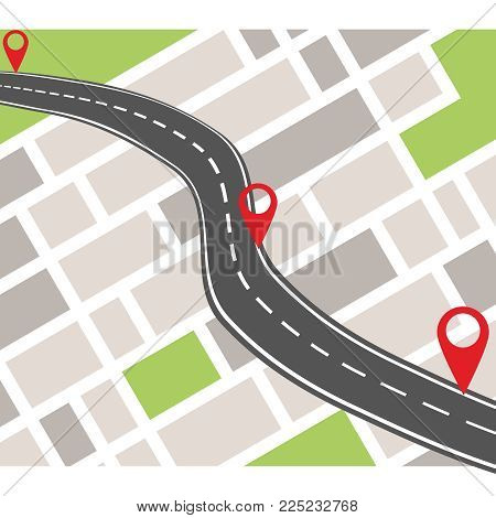 Gps Navigation System Banner. Navigation Concept With Pin Pointer. Flat Design, Vector Illustration,
