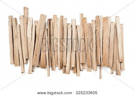 A pile of wood fire for kindling on white background, Clipping Path