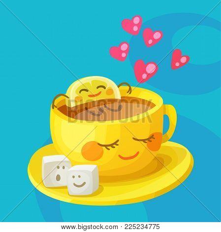 Funny food characters a cup of tea, lemon slice and sugar cubes in love. Cheerful emoji cartoon vector illustration