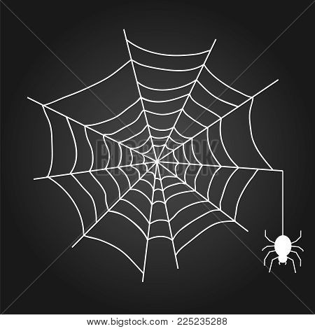 A web with a spider. White web on a black background. Flat design, vector illustration, vector.