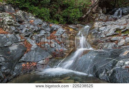Beautiful Waterfall Of Mesa Potamos  At Troodos Mountains In Cyprus.
