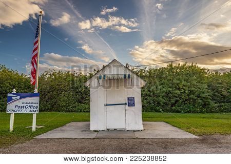 OCHOPEE, FLORIDA - JANUARY 14, 2015: Smallest Post Office in the United States. It used to be a storage facility for irrigation pipes and became a post office in 1953.