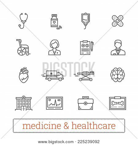 Medicine thin line icons: medical services, ambulance, health care tools, diagnostic equipment, pharmacology, reanimation and outpatient treatment. Vector elements for web services and mobile applications.